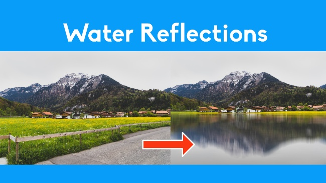 create realistic water reflections
